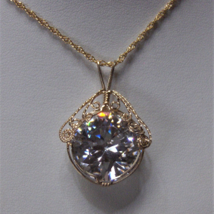 Cubic Zirconia Pendant with a 14K Gold-filled Wire Wrapped Setting
