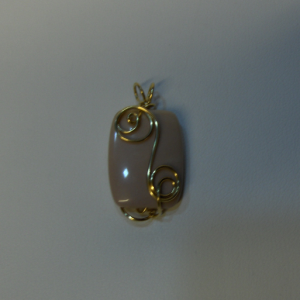 14K Gold-filled Wire Wrapped Delicate Pastel Pink Mookaite Jasper Pendant