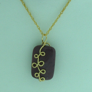14K Gold-filled Wire Wrapped Dusty Mauve Mookaite Jasper Pendant