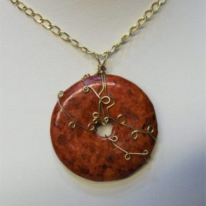 14K Gold-filled Wire Wrapped Sponge Coral Doughnut Pendant