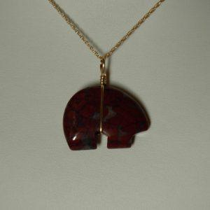 14K Gold filled Wire Wrapped Red Jasper Zuni Bear Pendant