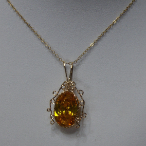 14K Gold-filled Wire Wrapped Golden Ice Pendant