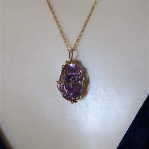 14K Gold-filled Wire Wrapped Lavender Ice Pendant