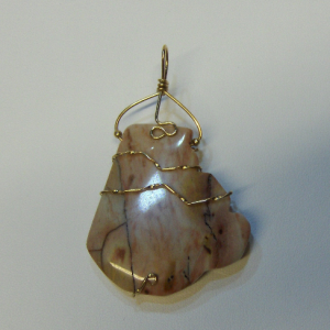 14K Gold-filled Wire Wrapped Large Mystery Jasper Pendant