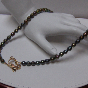 Designer Peacock Pearls Necklace w/Whitaker's Black Hills Gold Toggle