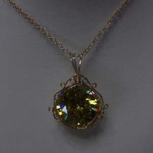 Peridot Green Cubic Zirconia Pendant with a 14K Gold-filled Wire Wrapped Setting