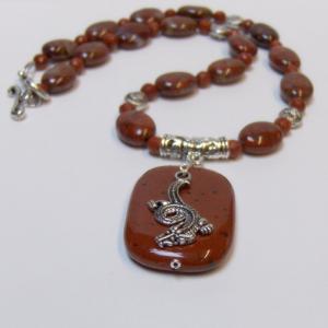 Red Ocean Jasper & Red Jasper Dragon Necklace