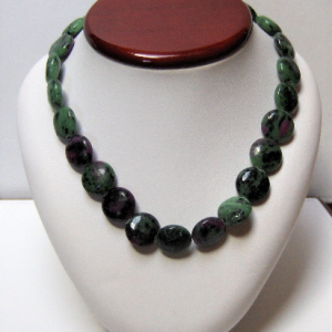 Ruby & Green Zoisite Coin Bead Necklace