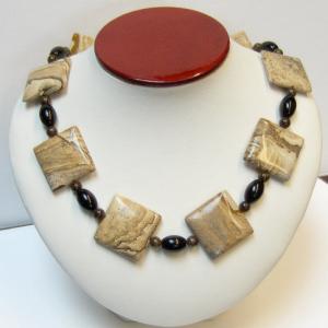 Scenic Jasper, Bronzite & Black River Stone Necklace