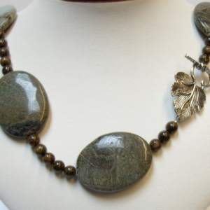 Big Bold Snakeskin Jasper & Bronzite Bead Necklace