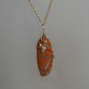 Sunset Agate Pendant with a Coleman Black Hills Gold Accent