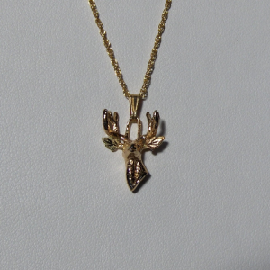 Whitaker's Black Hills Gold 3-D Deer Head Pendant