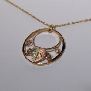 Whitaker's Black Hills Gold Antiqued Large Double Circle Pendant