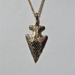 Whitaker's Black Hills Gold Arrowhead Pendant w/ Grapes & Leaves