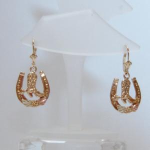 Whitaker's Black Hills Gold Boot in a Horseshoe Lever-back Earrings