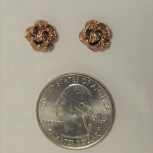 Whitaker's Black Hills Gold Extra Large Pink Rose Post Earrings