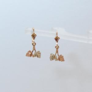 Whitaker's Black Hills Gold Grapes & Leaves Dangle Earrings