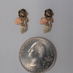 Whitaker's Black Hills Gold Antiqued Rose Post Earrings