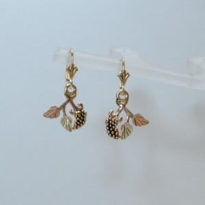 Whitaker's Black Hills Gold Antiqued Grapes & Leaves Lever-back Earrings