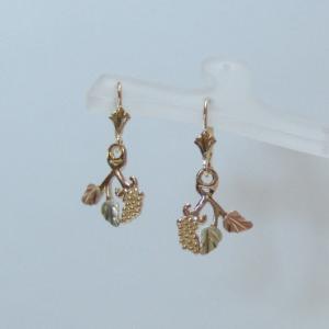 Whitaker's Black Hills Gold Grapes & Leaves Lever-back Earrings