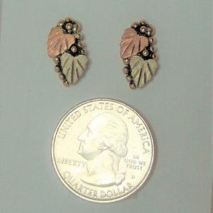Whitaker's Black Hills Gold Antiqued Grape Leaf Earrings