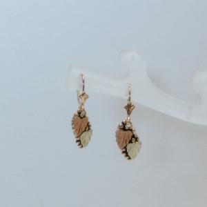 Whitaker's Black Hills Gold Antiqued Grape Leaf Dangle Earrings