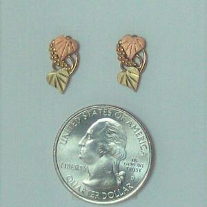 Whitaker's Black Hills Gold Grapes & Heart Leaves Earrings