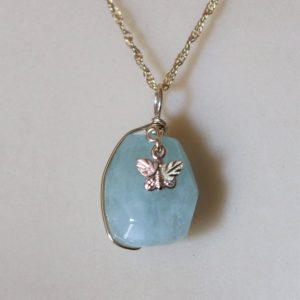 Aquamarine Bead with a Whitaker's Black Hills Gold Butterfly Accent