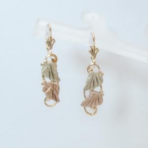 Whitaker's Black Hills Gold Curved Leaf Dangle Earrings