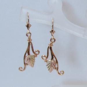 Whitaker's Black Hills Gold Leaf & Tendrils Dangle Earrings