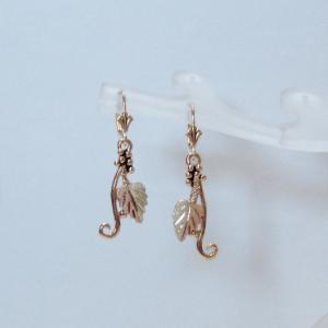 Whitaker's Black Hills Gold Bi-color Leaf Dangle Earrings