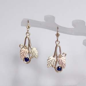 Whitaker's Black Hills Gold Traditional Style Earrings with Ceylon Blue Sapphires