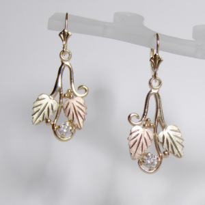 Whitaker's Black Hills Gold Traditional Style Earrings with White Diamonds