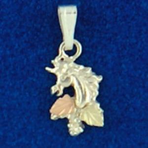 Whitaker's Black Hills Gold on Silver Unicorn Head Pendant