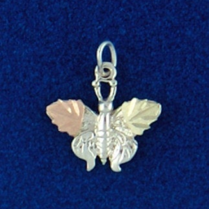 Whitaker's Black Hills Gold on Silver Solid Butterfly Pendant
