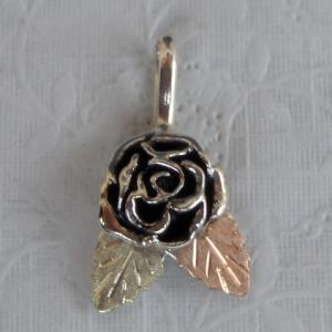 Whitaker's Black Hills Gold on Silver Rose Pendant