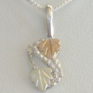Whitaker's Black Hills Gold on Silver Leaves & Grapes Pendant