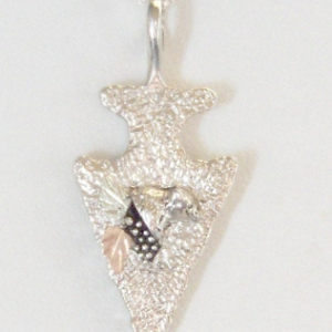 Whitaker's Black Hills Gold on Silver Bear Arrowhead Pendant