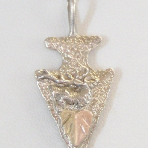 Whitaker's Black Hills Gold on Silver Elk Arrowhead Pendant