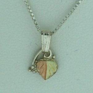 Whitaker's Black Hills Gold on Silver Micro Leaf Pendant