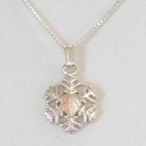 Whitaker's Black Hills Gold on Silver Medium Snowflake Pendant