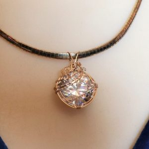 14K Gold-filled Wire Wrapped Cubic Zirconia Pendant