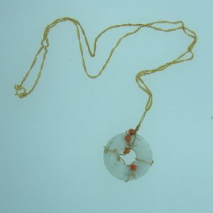 14K Gold filled Wire Wrapped White Howlite Doughnut & Coral Bead Pendant