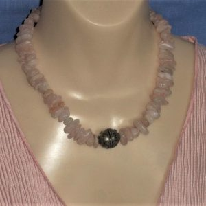 Large Morganite Chip Necklace with Bali Silver Focal Bead & Sterling Silver Designer Clasp