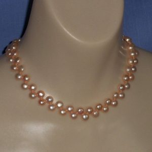 Carrot Orange Freshwater Pearl Bead Necklace