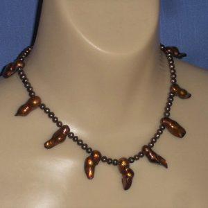 Bronze Comet Pearl Necklace