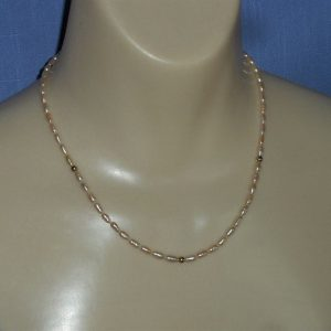 Peach Freshwater Pearl & 14K Gold Bead Necklace