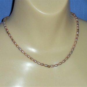 Mauve Freshwater Pearl & 14 Karat Gold Bead Necklace