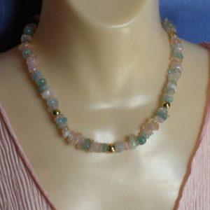 Aquamarine & Morganite Chip Bead Necklace