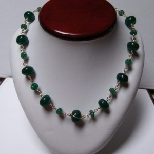 14K Gold-Filled Wire Wrapped Genuine Emerald Bead Necklace